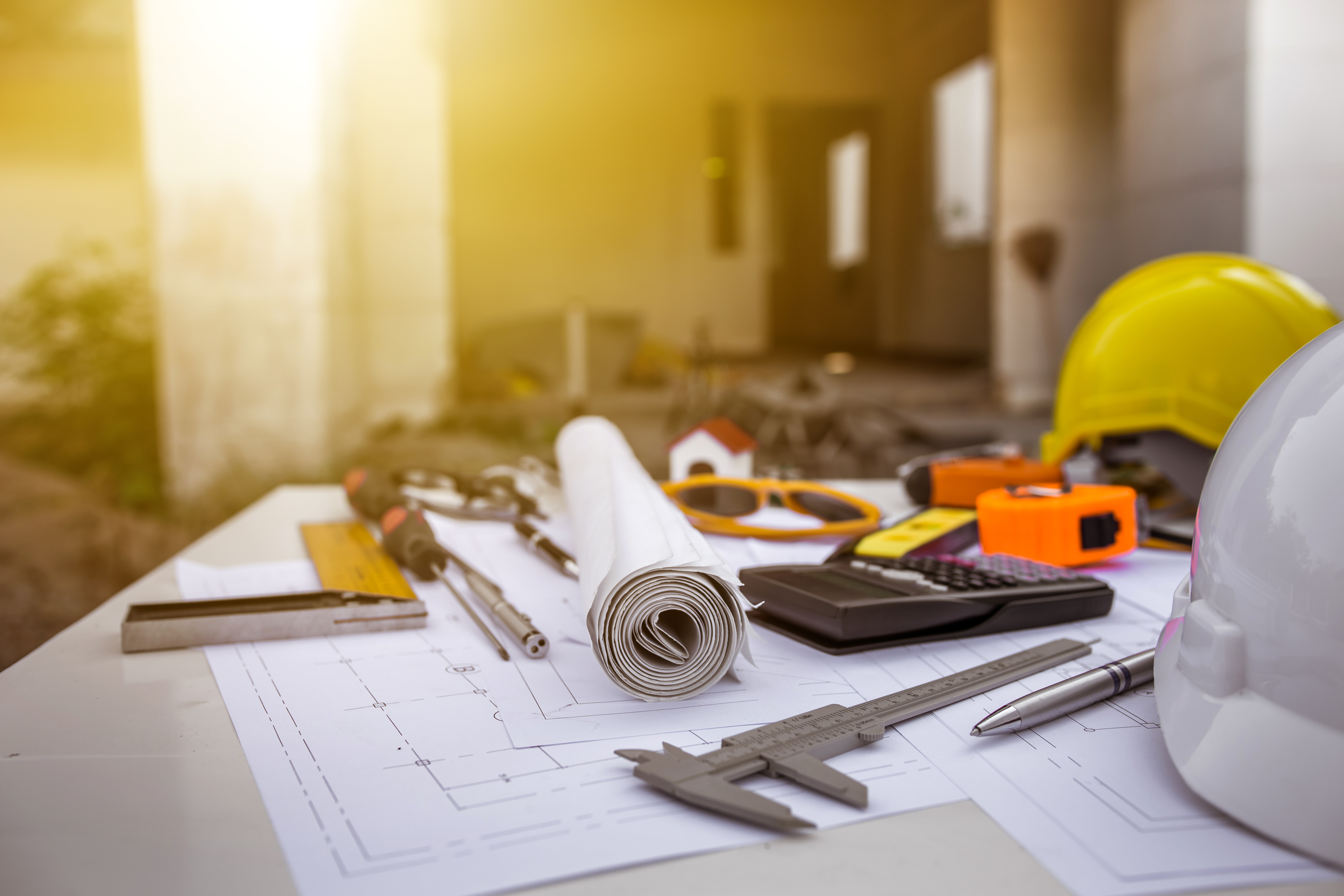 engineering-diagram-blueprint-paper-drafting-project-sketch-architectural-industrial-drawing-detail-and-several-drawing-tools